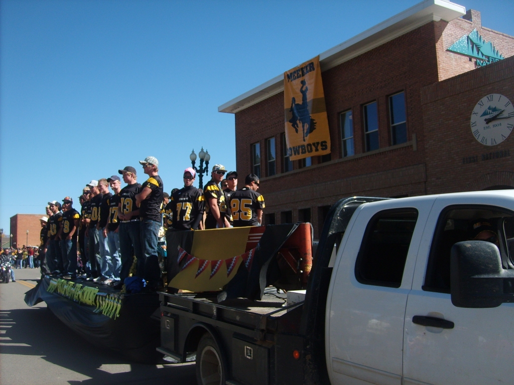 The Varsity Football Team in the Parade on Friday. (Photo courtesy of Cindy Rholl)